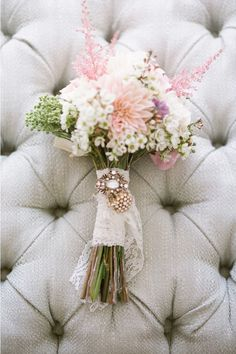 Pink astilbe and dahlia bouquet | Photo by Lane Dittoe