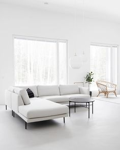 Rainy day on march Living Room White, Living Room Sofa, Living Room Interior, Kitchen Sofa, My Furniture, Corner Sofa, Minimalist Decor, Simple House, Home Fashion