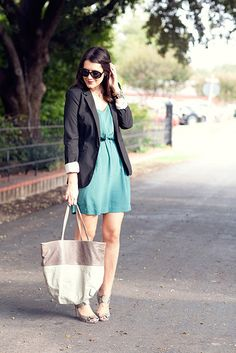 Cute outfit! | Blazer from Target, Dress from Bloom, Sunglasses from Coach, Shoes from Nine West