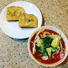 Today we made yummy #vegan posole! It had: tomato, onion, garlic, zucchini, squash, bell pepper, hominy, lime, chile Arbol and spices and was topped with cabbage, cilantro, avocado and radish with a side of #glutenfree bread. . #vegansofig #whatveganseat #healthy #nutrition #yummy #treatyoself  #healthyfood #fall #dinner #cozy #soup #plantbased #teamfnv #rdn #dietitiansofinstagram #rd #alwaysorganic #nongmo #food #recipe #foodstagram  Yummery - best recipes. Follow Us! #veganfoodporn
