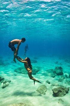 Underwater couple cute summer couples blue ocean water rocks sand
