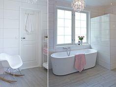 Gammelt hus i ny drakt - Trendy drømmehjem i Tønsberg - Boligpluss. Clawfoot Bathtub, Corner Bathtub, Home Goods, Retro, Bathrooms, Washroom, Corner Tub, Bathroom, Retro Illustration