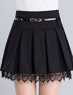 Women's Fashion Belt Waist Lace Trim A-Line Plain Pleated Mini Skirt Damenmode Gürtel Taille Lace Trim A-Line Plain Plissee Minirock – Fashion Belts, Girl Fashion, Fashion Dresses, Womens Fashion, Fashion Watches, Jeans Fashion, Fashion Fall, Fashion Fashion, Cute Skirts