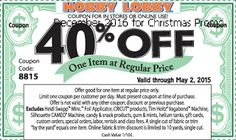 Hobby Lobby coupons & Hobby Lobby promo code inside The Coupons App. off a single item at Hobby Lobby, or online via promo code 9659 April Art Craft Store, Craft Stores, Free Printable Coupons, Free Printables, Free Coupons, Hobby Lobby Coupon Code, Store Coupons, Retail Coupons, Local Coupons
