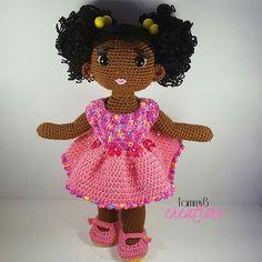 Handmade crochet doll from TammyBCreations. African American Crochet Doll. #crochetdoll #crochet #amigurumi