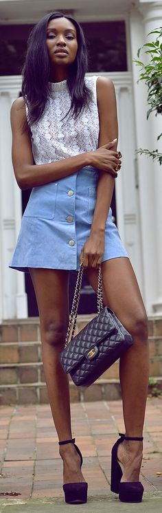 Blue Suede Button Skirt Fall Inspo by Bisous Natacha