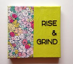 Rise & Grind mixed media OOAK canvas on Etsy, $17.00