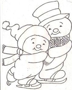 Riscos de Pintura: Riscos de Natal para pintura em tecido Snowman Faces, Cute Snowman, Snowmen, Applique Patterns, Craft Patterns, Dot Painting, Fabric Painting, Christmas Colors, Christmas Crafts