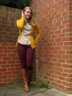 ladies cardigans supply the excellent portion to really fasten your desired setup simultaneously. Yellow Cardigan Outfits, Burgundy Pants Outfit, Colored Pants Outfits, Maroon Outfit, Burgundy Jeans, Casual Skirt Outfits, Simple Outfits, New Outfits, Cute Outfits