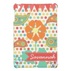 Personalized Name Flower Polka Dots and Paisley iPad Mini Case