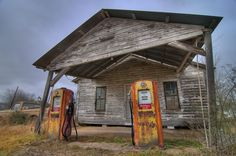 old gas stations | Photo 1128-10: Old gas station with a vintage pickup truck at...39 S ...