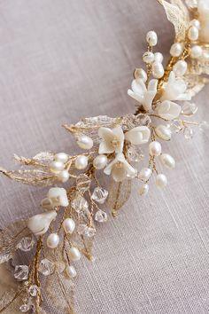 Gold pearl wedding headpiece_Bespoke by Tania Maras