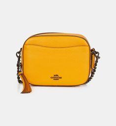 Sac caméra cuir grainé Coach Jaune | Galeries Lafayette Galeries Lafayette, Saddle Bags, Fashion Bags, Kate Spade, Yellow, Purse, Leather, Fashion Handbags, Molle Pouches