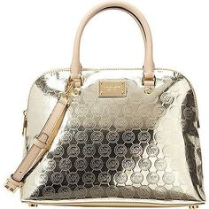 d37ff3f14c63 Save big on the Michael Kors Cindy Large Dome Signature Gold Tan Leather  Satchel! This satchel is a top 10 member favorite on Tradesy.