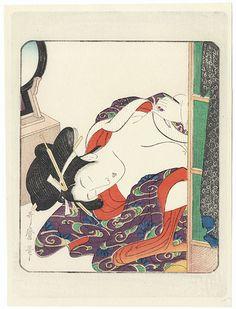 Classic Pillow Print by Utamaro (1750 - 1806). ukiyoe japan decoration antique fineart home decor collectible japanese woodblock print handmade home art beautiful decorative etching illustration traditional shunga