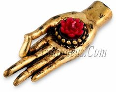 Invite prosperity & enlightenment to your life. These well-crafted Lord Buddha Hand Candle Holders are made from resin, and painted tastefully in a rustic gold. The cavity in the palm of the hand is bordered with lotus petals' decoration, representing Lord Buddha's infinite wisdom.