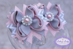 Set+of+2+mini+pink+and+grey+chevron+hair+bows+by+buttercupsbows,+$12.99