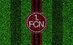 Download wallpapers FC Nurnberg, 4k, German football club, football lawn, logo, emblem, red black lines, Bundesliga 2, Nuremberg, Germany, football, grass texture