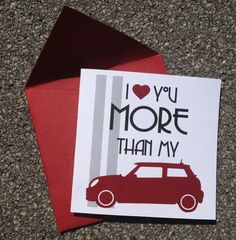 Mini Cooper Love Greeting Card van whitpen op Etsy