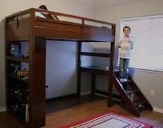 ana white plans for diy loft bed bookcase and access stairs would put comfy chair and a desk underneath making the most out of a small bedroom for tweens