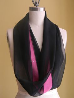 Black Silk Chiffon Infinity Scarf Pink Chiffon With by Olimpias