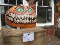 Giant Pumpkin Hand Painted in Damariscotta, Maine.