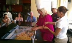 Guests learning how to cook Hibachi style at Now Larimar Punta Cana!