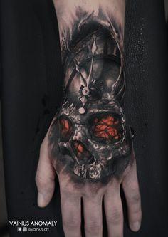 Tattoo by Vainius Anomaly  http://www.facebook.com/vainius.art/ http://www.instagram.com/vainius.art/  #tattoos #tattoo #insane #skull #clock #depressed #creepy #horror #darkness #inked #handtattoo #vainiusanomaly