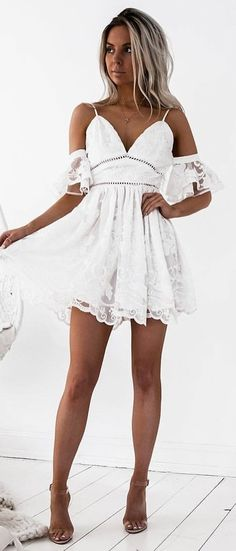 #fall #outfits White Cold Shoulder Lace Dress + Nude Sandals
