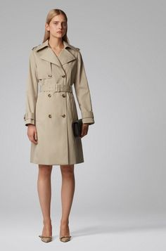 BOSS - Throw-over-style trench coat in water-repellent twill Trenchcoat Style, Mantel Beige, Throw Over, Beige Coat, Double Breasted, Boss, Women Wear, Feminine, Clothes For Women