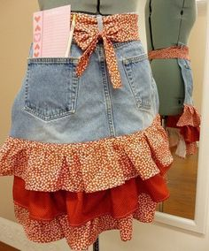 Download Ruffle Skirt or Apron Upcycled from Jeans or Pants Sewing Pattern | Aprons | YouCanMakeThis.com