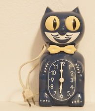 VINTAGE ELECTRIC-ORIGINAL KIT CAT KLOCK-KAT CLOCK-FELIX-BLUE!! ***LOVELY***