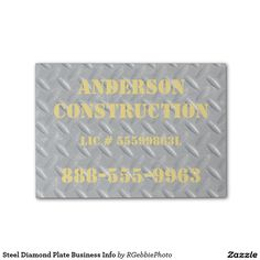 Steel Diamond Plate Business Info Post-it® Notes $6.57 Steel Diamond plate panel covering a spot on the floor. Industrial steampunk machine design. Add your business information to advertise! See more of our Business Promotional Tools in our store!