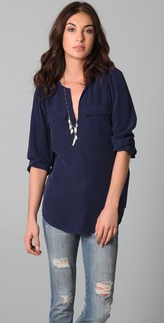 Like the blouse with non-ripped jeans or white pants. Ditch the necklace.