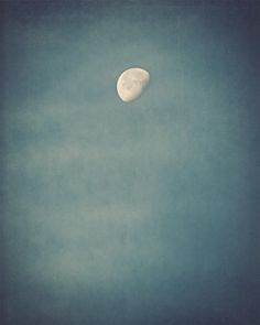 Moon Photograph - sky, night, summer, phase, blue, dark, teal, aqua - Rise of the Moon silk road inspiration on Etsy, $30.00