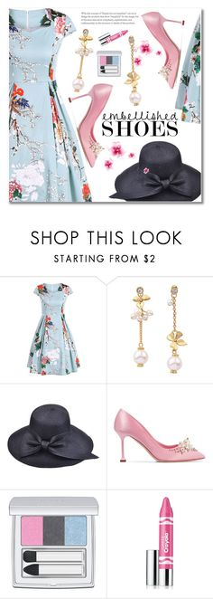 """""""flower vintage dress"""" by fshionme ❤ liked on Polyvore featuring Miu Miu, RMK, Clinique, vintage, StreetStyle, Spring, PROMNIGHT, statementshoes and embellishedshoes"""