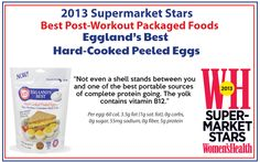 "Eggland's Best Hard-Cooked Peeled Eggs named 2013 ""Best Post-Workout Packaged Food"". #protein #ebeggs"
