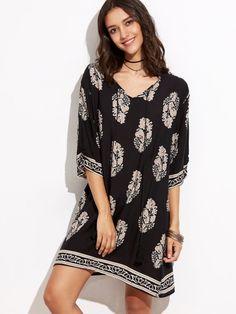 Black Vintage Print Lace Up Fringe Shift Dress