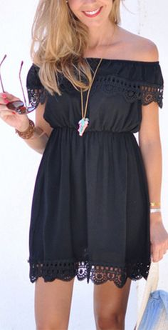 Cute & little sexy lace dress. Two colors for you at shein.com. Black Off the Shoulder Lace Scalloped Casual Dress.