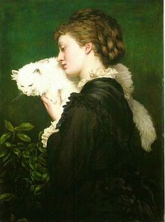 """May Prinsep and her Persian Cat Valentine Prinsep. Valentine Cameron """"Val"""" Prinsep RA was a British painter of the Pre-Raphaelite school. Old Paintings, Paintings I Love, Animal Paintings, Crazy Cat Lady, Crazy Cats, Cat Allergies, John Everett Millais, Sam And Cat, Cat Valentine"""
