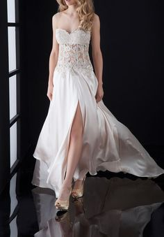 Satin #Strapless #Sweetheart A-line Long Prom #Dress