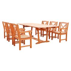 Vifah Malibu Eco-friendly 7 Piece Outdoor Hardwood Dining Set with Rectangle Extention Table and Arm Chairs, Urban Safari Tan