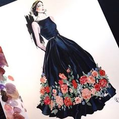 Ink and gouache illustration of Elie Saabs fall 2015 haute couture gown… Diy Fashion Drawing, Fashion Design Drawings, Fashion Illustration Sketches, Fashion Sketches, Fashion Sketchbook, Vogue Fashion, Fashion Art, Fashion Design Template, Haute Couture Gowns