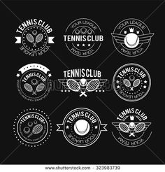 Tennis sporting vintage emblems, labels banners or logo designs for sport club and tournament with rackets, balls, ribbon banners, stars or shield. Tennis logo in a linear style vector illustration