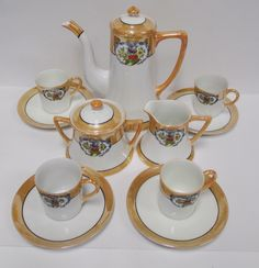 Vintage Noritake M Chocolate Demi Coffee Set, 13pc Hand Painted Japan, Espresso Pot, 4 Cup/ Saucers, Cream & Sugar Lusterware Floral Pattern by retrogal415 on Etsy https://www.etsy.com/listing/493066571/vintage-noritake-m-chocolate-demi-coffee