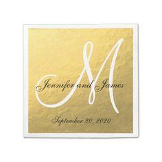 Elegant Gold Black Monogram Paper Napkins
