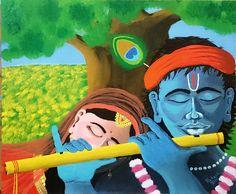 "Radha Krishna - original acrylic painting on canvas board 20""x24"".  https://www.etsy.com/listing/240720572/devotion-radha-krishna-spiritual-acrylic"
