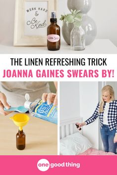 Learn how to make a simple and all-natural lavender linen spray here! Use it to freshen up clothing, sheets, curtains, and throw pillows around the house. Household Cleaning Tips, House Cleaning Tips, Cleaning Hacks, Cleaning Products, Diy Cleaners, Cleaners Homemade, Cleaning Window Tracks, Cleaning Painted Walls, Glass Spray Bottle