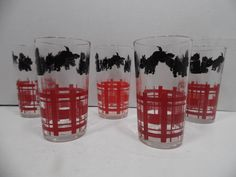 Vintage Scottie Dog Scottish Terrier Tumblers Set of 5 1950's Unmarked Federal