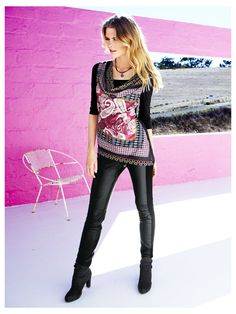 T-shirt imprimé long - http://www.helline.fr/T-shirt-imprime/an009269X/HellineFr?ShopID=sh9570132sp10021601979=Outfit-Tipp
